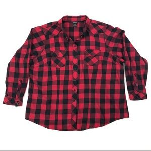 TORRID Red and Black Plaid Long Sleeve Button Down
